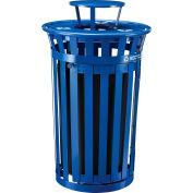 Global Industrial™ Outdoor Steel Recycling Receptacle w/Access Door & Rain Bonnet - 36 Gal Blue