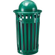 Global Industrial™ Outdoor Metal Slatted Waste Receptacle w/Access Door & Dome Lid - 36 Gal GN
