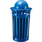 Global Industrial™ Recycling Can w/Access Door & Dome Lid, 36 Gallon, Blue