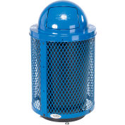 Global Industrial™ Deluxe Thermoplastic 32 Gal Mesh Recycling Receptacle w/Dome Lid & Base Blue