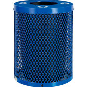 Global Industrial™ Thermoplastic 36 Gallon Mesh Recycling Receptacle w/Flat Lid - Blue