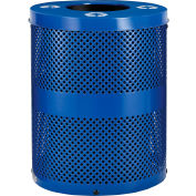 Global Industrial™ Thermoplastic 32 Gallon Perforated Recycling Receptacle w/Flat Lid - Blue