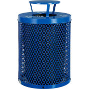 Global Industrial™ Thermoplastic 36 Gallon Mesh Recycling Receptacle w/Rain Bonnet Lid - Blue