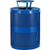 Global Industrial™ Thermoplastic 32 Gal Perforated Recycling Receptacle w/Rain Bonnet - Blue