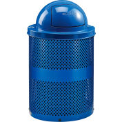 Global Industrial™ Thermoplastic 36 Gallon Perforated Recycling Receptacle w/Dome Lid - Blue