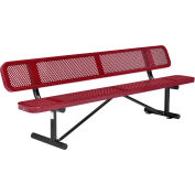 Global Industrial™ 8 ft. Outdoor Steel Picnic Bench with Backrest - Perforated Metal - Red