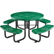 """Global Industrial™ 46"""" Round Outdoor Steel Picnic Table - Perforated Metal - Green"""