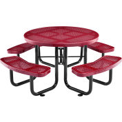"""Global Industrial™ 46"""" Round Outdoor Steel Picnic Table - Perforated Metal - Red"""
