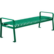 Global Industrial™ 6 ft. Outdoor Steel Slat Park Bench without Back - Green