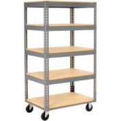 Easy Adjust Boltless 5 Shelf Truck 60 x 24 with Wood Shelves - Polyurethane Casters