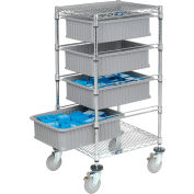 """Global Industrial™ Chrome Wire Cart With (4) 6""""H Gray Grid Containers 21"""" x 24"""" x 40"""""""