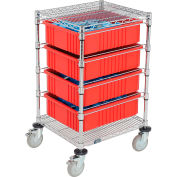 """Global Industrial™ Chrome Wire Cart With (4) 6""""H Red Grid Containers 21"""" x 24"""" x 40"""""""