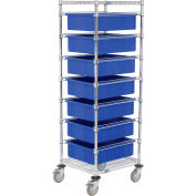 """Global Industrial™ 21X24X69 Chrome Wire Cart With 7 6""""H Grid Containers Blue"""