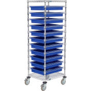 """Global Industrial™ 21X24X69 Chrome Wire Cart With 11 3""""H Grid Containers Blue"""