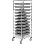 """Global Industrial™ 21X24X69 Chrome Wire Cart With 11 3""""H Grid Containers Gray"""