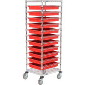 """Global Industrial™ 21X24X69 Chrome Wire Cart With 11 3""""H Grid Containers Red"""