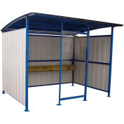 """Steel Smokers Shelter With Clear Front Panel & Wooden Bench Rail, 120""""W x 96""""D x 91""""H"""