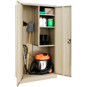 Global Industrial™ Janitorial Cabinet Easy Assembly 36x18x72 Tan