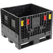 "Monoflo BC3230-25 Folding Bulk Shipping Container - 32""L x 30""W x 25""H, 1800 Lb. Capacity Black"