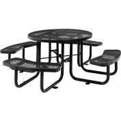 """Global Industrial™ 46"""" Round Outdoor Steel Picnic Table, Expanded Metal, Black"""