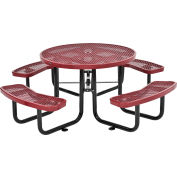"Global Industrial™ 46"" Round Outdoor Steel Picnic Table, Expanded Metal, Red"