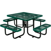 """Global Industrial™ 46"""" Square Outdoor Steel Picnic Table, Expanded Metal, Green"""