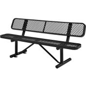 Global Industrial™ 6 ft. Outdoor Steel Bench with Backrest - Expanded Metal - Black
