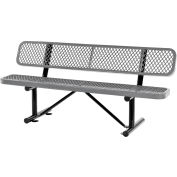 Global Industrial™ 6 ft. Outdoor Steel Bench with Backrest - Expanded Metal - Gray