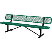 Global Industrial™ 8 ft. Outdoor Steel Bench with Backrest - Expanded Metal - Green