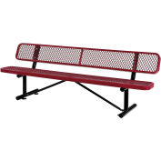 Global Industrial™ 8 ft. Outdoor Steel Bench with Backrest - Expanded Metal - Red
