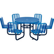 """Global Industrial™ 46"""" Round Carousel Picnic Table With 6 Seats, Expanded Metal, Blue"""