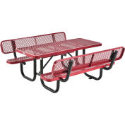 Global Industrial™ 6' Rectangular Outdoor Picnic Table With Backrests, Expanded Metal, Red