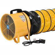 "Global Industrial™ 12"" Portable Ventilation Fan with 16' Flexible Duct - 1640 CFM - 3/8 HP"