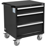 "Global Industrial™ Mobile Modular Drawer Cabinet, 3 Drawers, w/Lock, 30""Wx27""Dx37""H, Black"