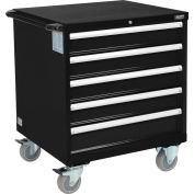 "Global Industrial™ Mobile Modular Drawer Cabinet, 5 Drawers, w/Lock, 30""Wx27""Dx37""H, Black"