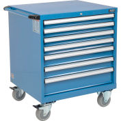 "Global Industrial™ Mobile Modular Drawer Cabinet, 7 Drawers, w/Lock, 30""Wx27""Dx37""H, Blue"