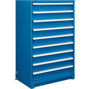 """Global Industrial™ Modular Drawer Cabinet, 9 Drawers, w/Lock, w/o Dividers, 36""""Wx24""""Dx57""""H Blue"""