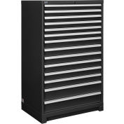 """Global Industrial™ Modular Drawer Cabinet, 14 Drawers, w/Lock, w/o Dividers, 36""""Wx24""""Dx57""""H BLK"""