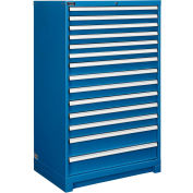 """Global Industrial™ Modular Drawer Cabinet, 14 Drawers, w/Lock, w/o Dividers, 36""""Wx24""""Dx57""""H BL"""