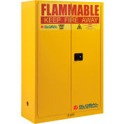 """Global Industrial™ Flammable Cabinet, 45 Gallon Manual Close Double Door, 43""""W x 18""""D x 65""""H"""