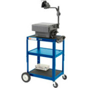 Blue Big Wheel Steel Audio Visual & Instrument Cart