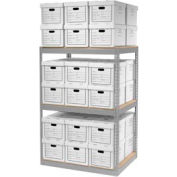 """Global Industrial™ Record Storage Open With Boxes 42""""WX30""""DX60""""H - Gray"""
