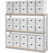 """Global Industrial™ Record Storage Open With Boxes 72""""W x 15""""D x 60""""H - Gray"""