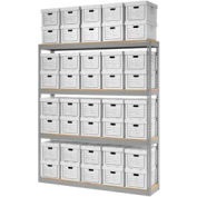 "Global Industrial™ Record Storage Open With Boxes 72""W x 15""D x 84""H - Gray"