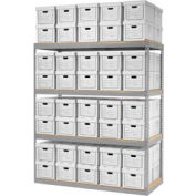 "Global Industrial™ Record Storage Open With Boxes 72""W x 30""D x 84""H - Gray"
