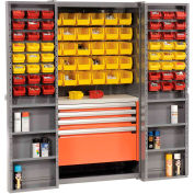 Security Work Center & Storage Cabinet With Shelves, 4 Drawers, Yellow/Red Bins