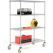 Nexelate Wire Shelf Truck 60x24x69 1200 Pound Capacity With Brakes