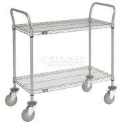 Nexelate Wire Shelf Utility Cart 36 x 18 2 Shelves 800 Lb. Capacity