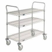 Nexelate Wire Shelf Utility Cart With Brakes 36x24 3 Shelves 800 Lb. Capacity