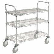 Nexelate Wire Shelf Utility Cart 48x24 3 Shelves 800 Lb. Capacity